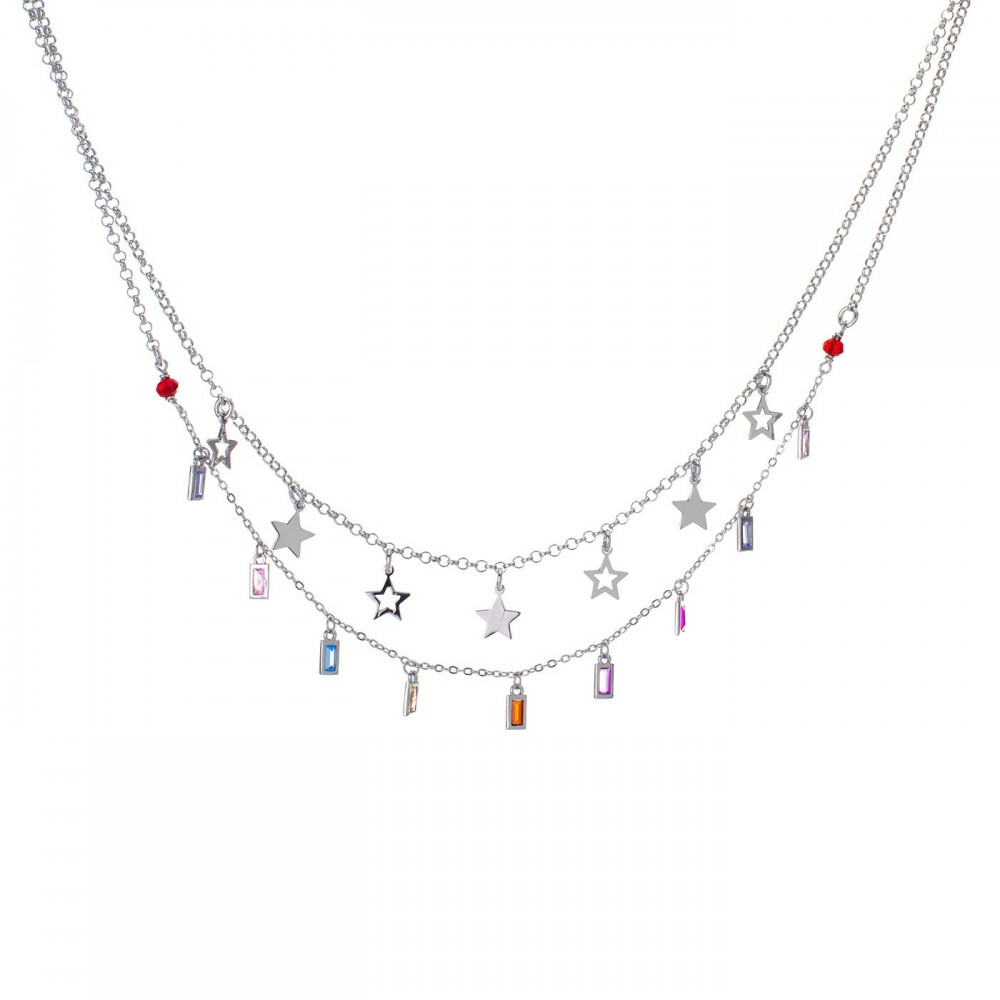 Collana Stelle e Pendenti Multicolor